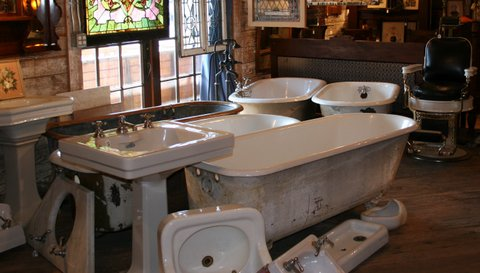 Find authentic bathroom fixtures, leaded and stained glass windows and thousands of historic salvage at Aurora Mills Architectural Salvage, Aurora.  Open Tues - Sun 10-5.
