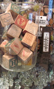 Aurora has vintage goods both small and large.  Find your favorites like these letter blocks at Aurora Mills Architectural.