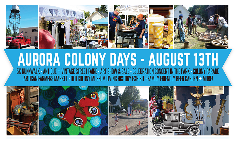 Aurora Colony Days Antiques + Vintage Sale.  August 13th, 2016.  8-4.  Join the fun!  No admission, free parking.  We close off the downtown streets and fill it with amazing vintage and antique goods PLUS our 23 fabulous shops make this an event you don't want to miss!