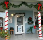 Aurora's shops and historic buildings are decorated for the holidays both inside and out.