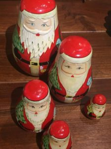 All manner of Santa figures, both vintage and contemporary can be found in Aurora's shops.  These from Back Porch Vintage, 21627 Hwy 99E, (503)678-2044